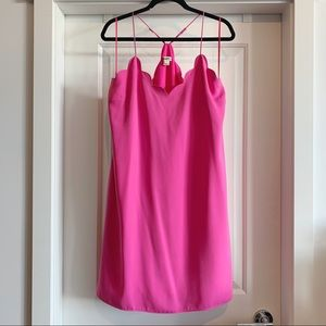 J. Crew Scalloped Tank Dress in Fuschia
